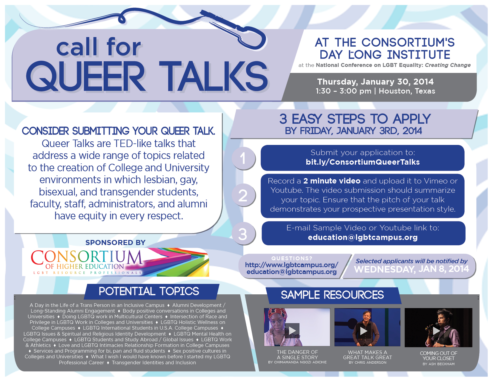 Consortium Queer Talks Call for Submissions Image